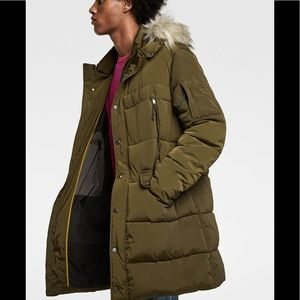 2ca771227 Zara Men Green Khaki Puffer Parka Coat NWT